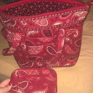 Red Patterned Vera Bradley Handbag